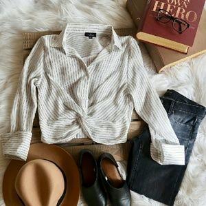 KEIRA Striped knot tie top - BLACK / WHITE